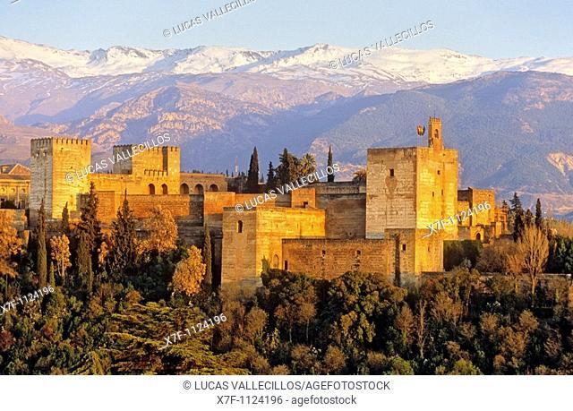 Alhambra and Sierra Nevada, Granada  Andalusia, Spain
