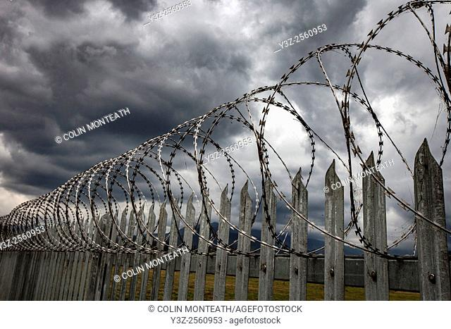 Razor wire, Goroka, eastern Highlands, Papua New Guinea