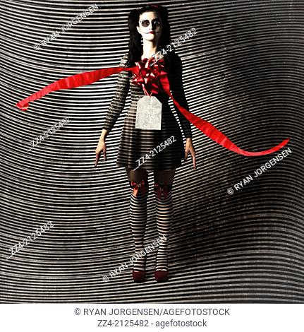 Girl voodoo doll wearing gift bow, price tag and ribbon, unravelling like clock hands of the present. Price of life and death