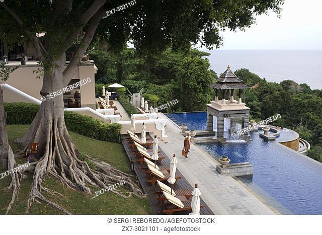 Pool, luxury hotel Pimalai Resort, Kantiang Beach, Ko Lanta or Koh Lanta island, Krabi, Thailand, Asia. Pimalai Resort & Spa is a luxury beach resort occupies...