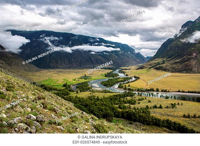 View to the valley of Chulyshman river on the way to Mushroom rocks, Altai