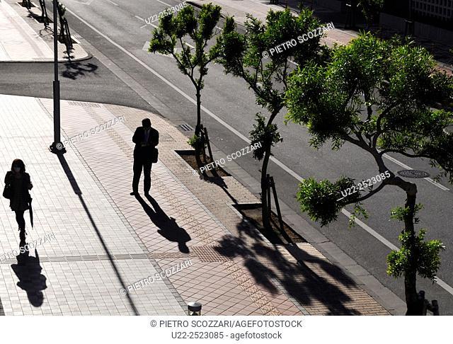 Naha, Okinawa, Japan: pedestrians in Shintoshin