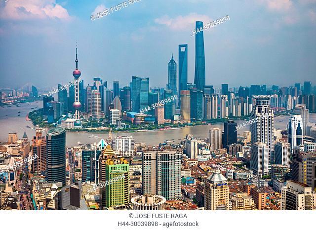 China, Shanghai City, Huangpu river,Pudong District, Lujiazui Area, Jin Mao Bldg.,World Financial Center and Shanghai Tower