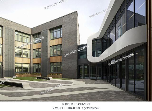 View of internal courtyard. Menai Science Parc, Bangor, United Kingdom. Architect: FaulknerBrowns, 2019