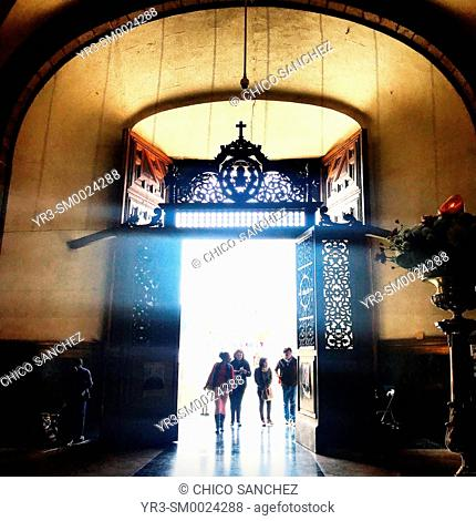 People enter the Our Lady of Guadalupe basilica in Mexico City, Mexico