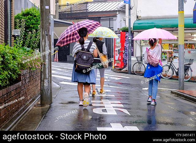 Scenes from the rainy streets of Tokyo, Japan in summer 2019