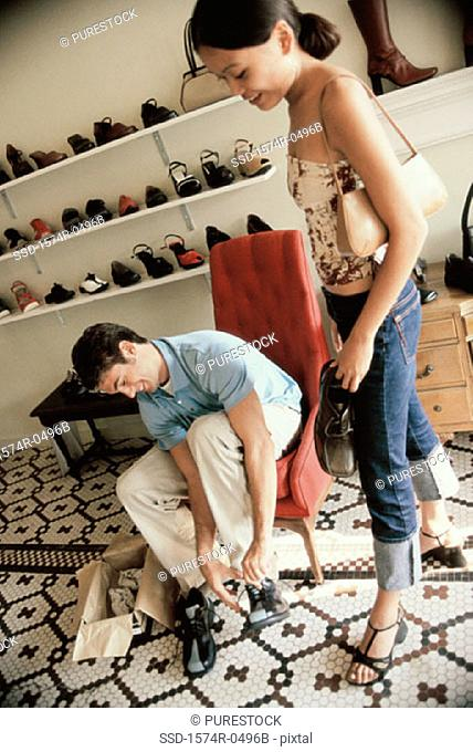 Young couple in a shoe store