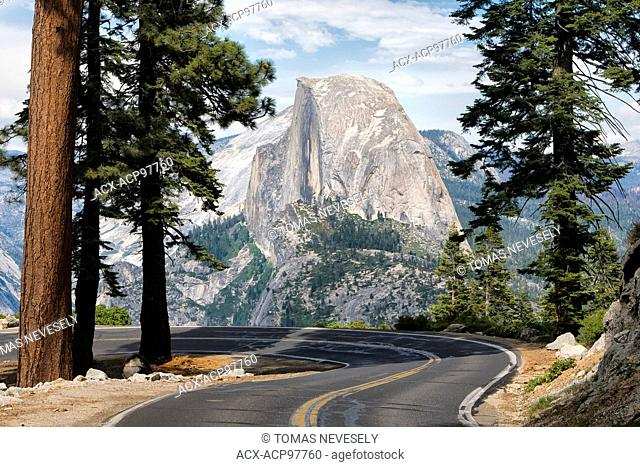 The road leading to Glacier Point in Yosemite National Park, California, USA with the Half Dome in the background