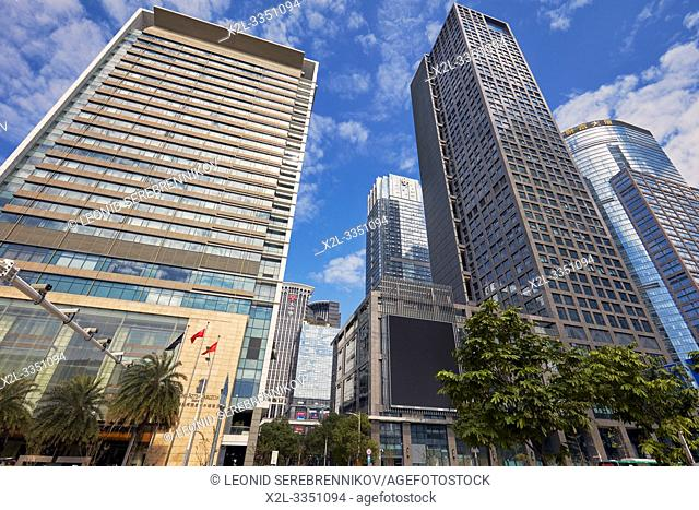 High-rise buildings in Futian Central Business District (CBD). Shenzhen, Guangdong Province, China