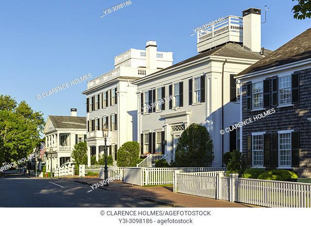 Stately sea captain's homes along N Water Street in Edgartown, Massachusetts on Martha's Vineyard
