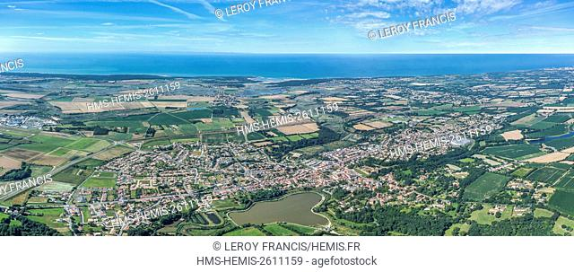 France, Vendee, Talmont saint Hilaire, the town and the marshes (aerial view)