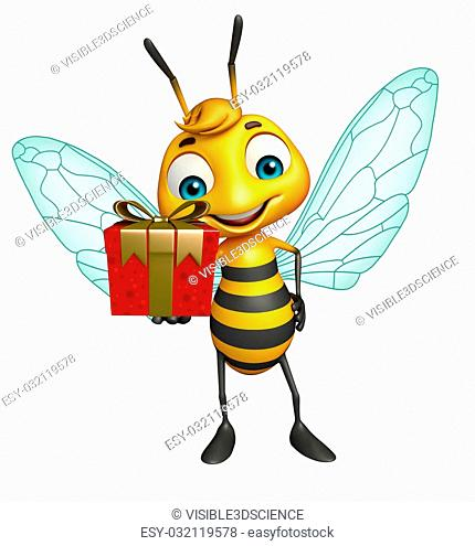 3d rendered illustration of Bee cartoon character with gift box