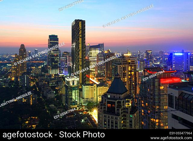 Aerial view of Bangkok Skyline cityscape at Twilight Thailand