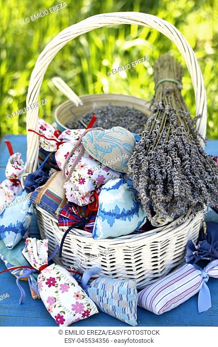 Little bags of lavender flowers for home