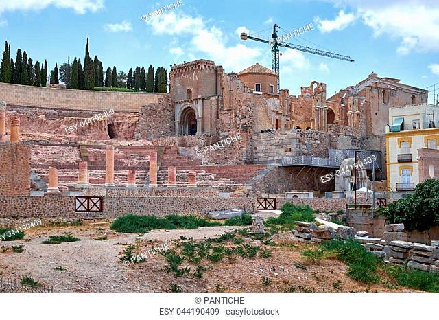 Roman amphitheater and ruins in Cartagena city, region of Murcia, Spain