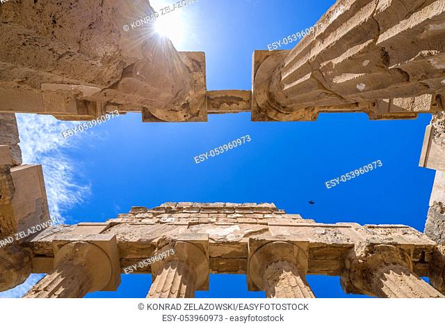 Close up on Doric order Temple E also called Temple of Hera in Selinunte ancient Greek city on the south western coast of Sicily in Italy