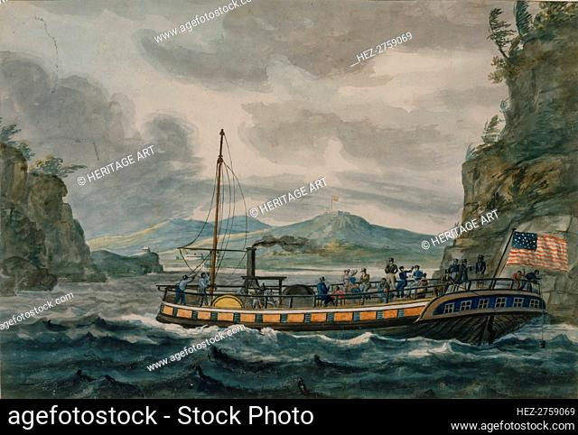 Steamboat Travel on the Hudson River, 1811-ca.1813. Creator: Pavel Petrovic Svin'in