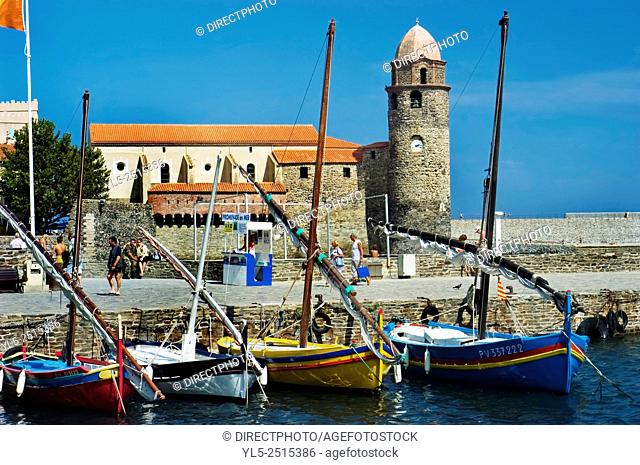 Colliore, France, South of France, Beach Scene with Local Monument, Landscape, Port Scenic with Moored Sail Boats