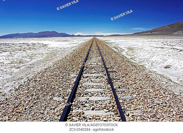 Railway line to the direction of the country of Chile, near a military camp, salar de Uyuni, national reserve of Andean Fauna Eduardo Avaroa in the South Lipez...
