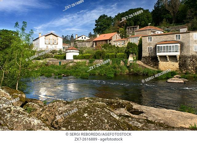 Way of St. James, Jacobean Route. Houses on the Tambre River passing by Ponte Maceira. A Coruña. St. James's Way, St. James's Path, St