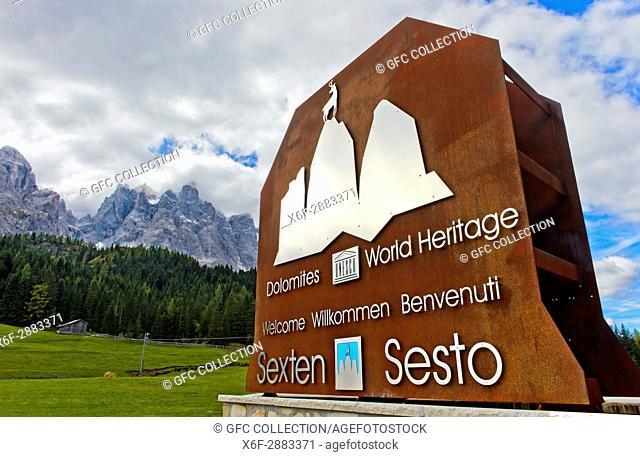 Entrance to the UNESCO World Heritage Site - Dolomites of Sesto Nature Park, Sesto, South Tyrol, Trentino-Alto Adige, Italy