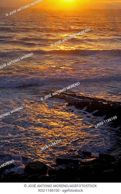 Azenhas do Mar, Sunset at Praia das maças  das maças Beach , Lisbon district, Sintra coast, Portugal, Europe