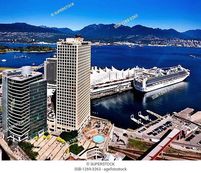 Cruise ship at a harbor, Canada Place, Vancouver Lookout, Vancouver, British Columbia, Canada