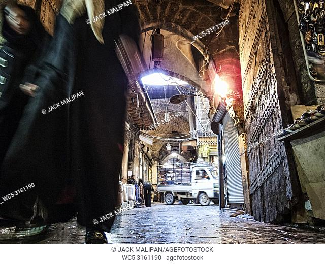 busy souk market shopping street in old town of aleppo syria