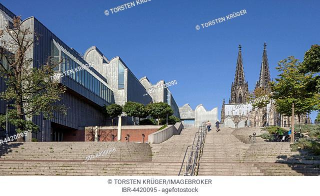 Museum Ludwig, Cologne Cathedral behind, Cologne, North Rhine-Westphalia, Germany