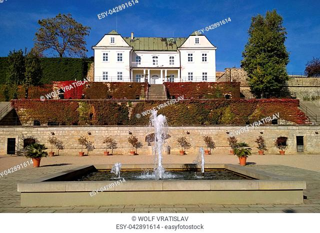 Fountain in the Gardens of Decin Chateau, Usti nad Labem Region, Czech Republic