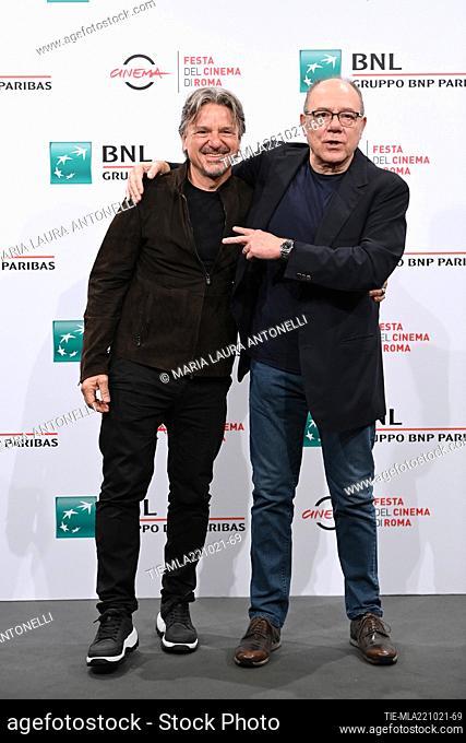 The directors Arnaldo Catinari, Carlo Verdone during the photocall of film 'Vita da Carlo' at the 16th Rome Film Festival, Rome, ITALY-22-10-2021