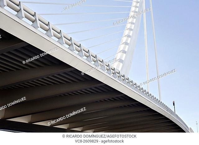 View from under of Assut d'Or bridge made by Santiago Calatrava. Valencia, Spain