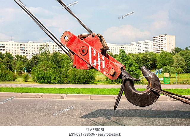 truck crane hook against the new city area