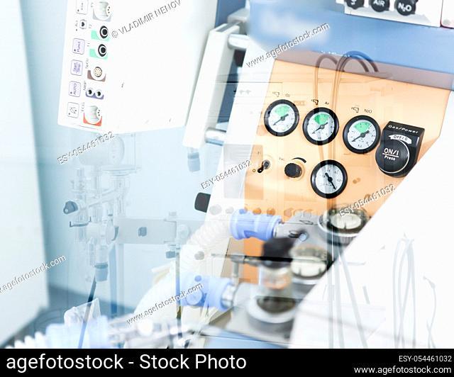 Image of medical ventilator. Hospital respiratory ventilation. Patient life saving machine. Intensive care unit ventilator