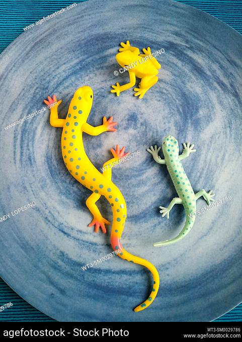 Colorful plastic reptiles an amphibian on blue background
