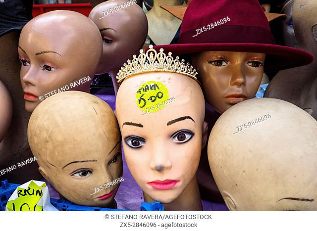 Mannequin heads in the flea market of Deptford - London, England