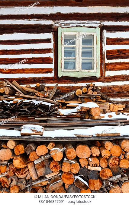 Windows of a traditional house in Turcianske Jaseno village, northern Slovakia.