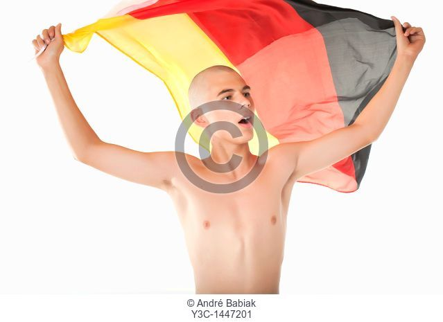Young hooligan cheering with Germany flag