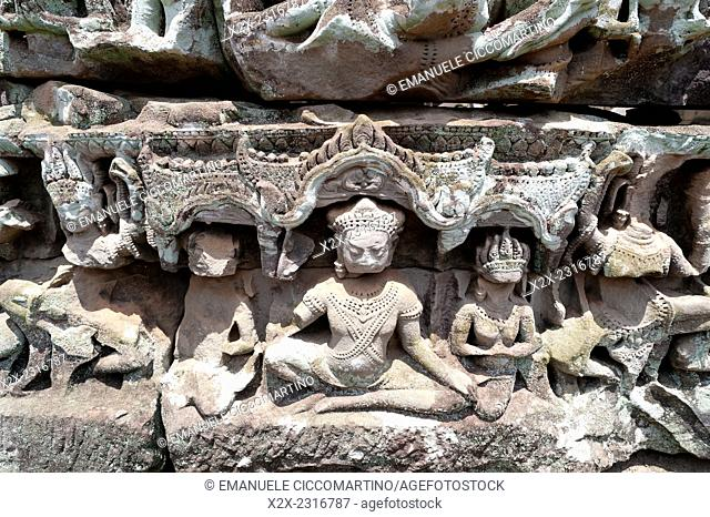 Sculptural Relief, Bayon Temple, UNESCO World Heritage Site, Angkor, Siem Reap,Cambodia, Indochina, Southeast Asia, Asia