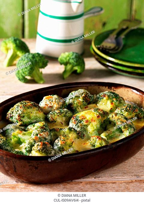 Casserole side dish with broccoli gratin and cheese
