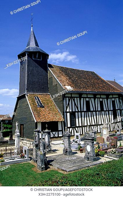 timber-framed church of Chatillon-sur-Broue, Marne department, Champagne-Ardenne region, France, Europe