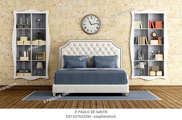 Classic master bedroom with elegant double bed and two bookcase - 3d rendering