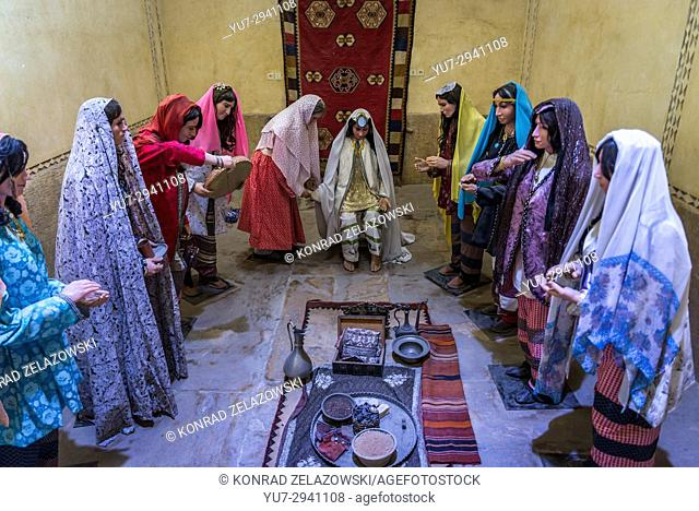 Female wax sculptures in old public baths called Vakil Bath in Shiraz city, capital of Fars Province in Iran