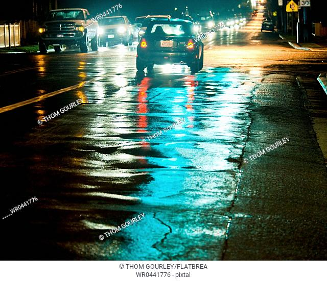 Night Traffic on a Wet Street