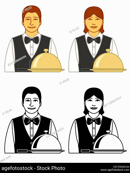 set of waiter and waitress vector icons male and female, with covered tray isolated on a white background