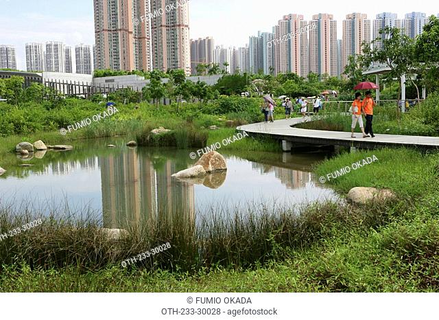 Wetland Park with condominium in the background, Hong Kong