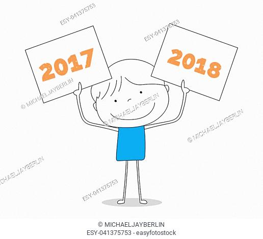 Boy holding two signs with 2017 and 2018, hand drawn cartoon style illustration sketch