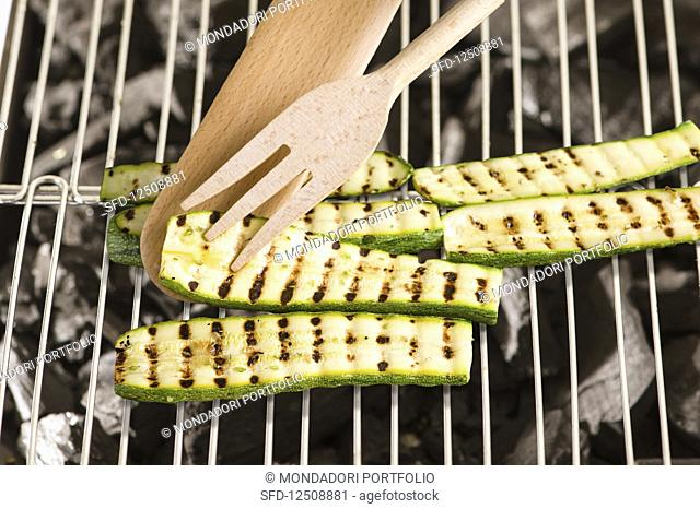 Courgette slices on a grill