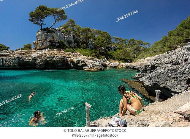 Cala s'Almunia, Santanyi, Majorca, Balearic Islands, Spain