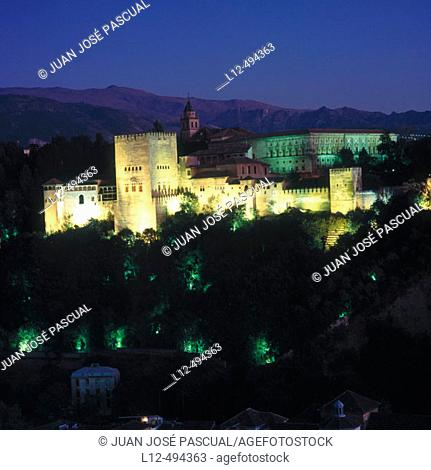 The Alhambra seen from San Nicolás viewpoint, Granada. Andalusia, Spain